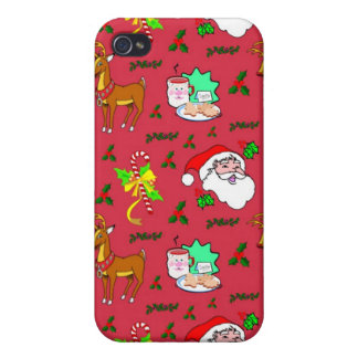 Santa Claus – Reindeer & Candy Canes Cases For iPhone 4