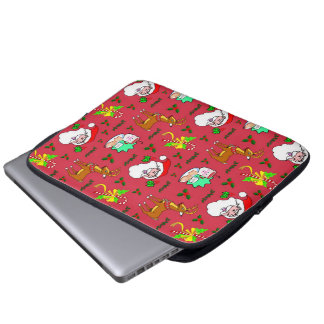 Santa Claus – Reindeer Candy Canes Laptop Computer Sleeves
