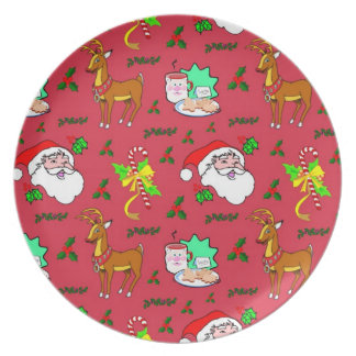 Santa Claus – Reindeer & Candy Canes Plates
