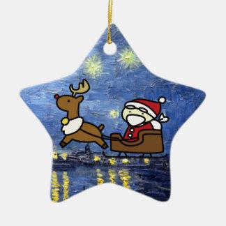 santa claus & reindeer ceramic star decoration