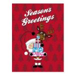 Santa Claus & Reindeer Christmas Postcard