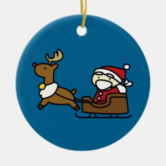 santa claus & reindeer round ceramic decoration