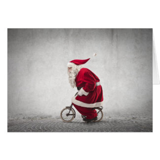 Santa Claus Rides A Bicycle Card