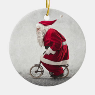 Santa Claus Rides A Bicycle Christmas Ornament