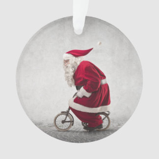 Santa Claus Rides A Bicycle Ornament