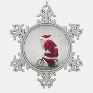 Santa Claus Rides A Bicycle Snowflake Pewter Christmas Ornament