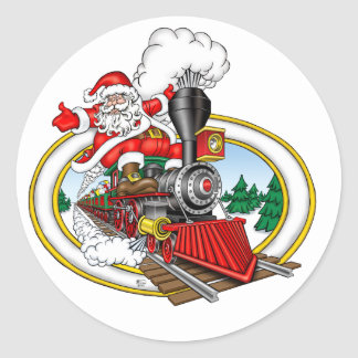 Santa Claus rides a Steam Locomotive Classic Round Sticker