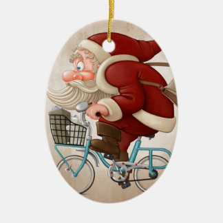 Santa Claus rides the bicycle Ceramic Oval Decoration