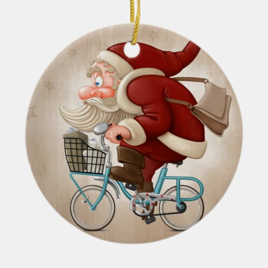 Santa Claus rides the bicycle Christmas Ornament