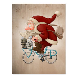 Santa Claus rides the bicycle Postcard