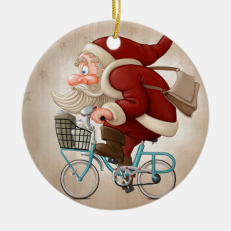 Santa Claus rides the bicycle Round Ceramic Decoration