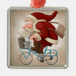 Santa Claus rides the bicycle Silver-Colored Square Decoration