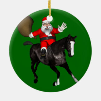 Santa Claus Riding A Black Horse Round Ceramic Decoration