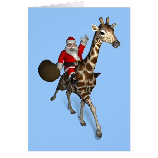 Santa Claus Riding A Giraffe Card