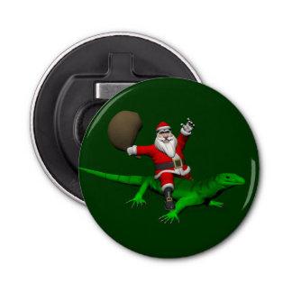 Santa Claus Riding Green Lizard Bottle Opener
