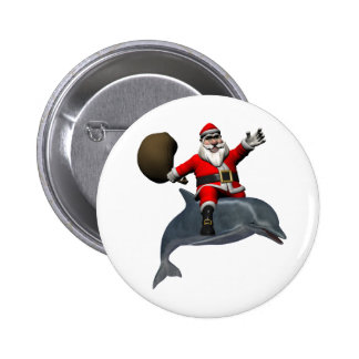 Santa Claus Riding On Dolphin 6 Cm Round Badge