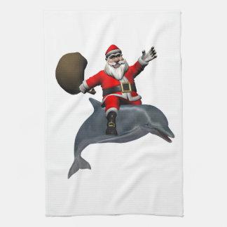 Santa Claus Riding On Dolphin Tea Towel