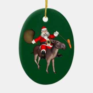 Santa Claus Riding On Donkey Christmas Ornament