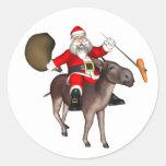 Santa Claus Riding On Donkey Round Sticker
