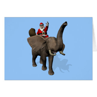 Santa Claus Riding On Elephant Card
