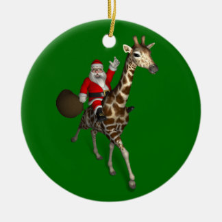 Santa Claus Riding On Giraffe Christmas Ornament