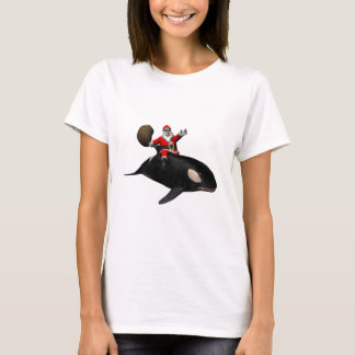 Santa Claus Riding On Killer Whale T-Shirt