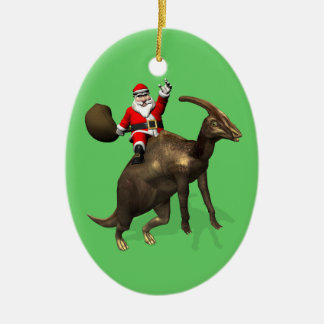 Santa Claus Riding On Parasaurolophus Christmas Ornament