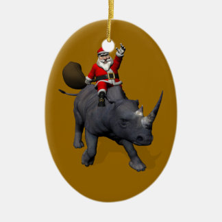 Santa Claus Riding On Rhinoceros Christmas Ornament