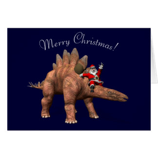 Santa Claus Riding On Stegosaurus Card