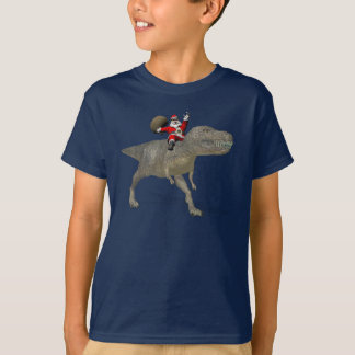 Santa Claus Riding On Trex T-Shirt