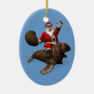 Santa Claus Riding On Walrus Christmas Ornament