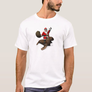 Santa Claus Riding On Walrus T-Shirt