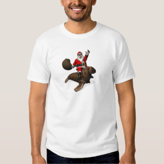 Santa Claus Riding On Walrus Tshirt
