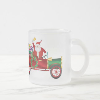 Santa Claus Ringing Bell in Vintage Car Mug