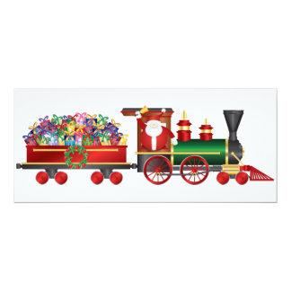 Santa Claus Ringing Bell on Train Invitation Card