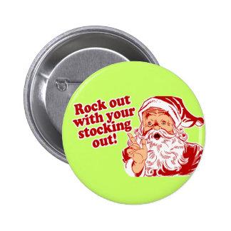 Santa Claus Rock Out 6 Cm Round Badge