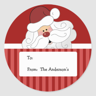Santa Claus Round Holiday Christmas Tag stickers