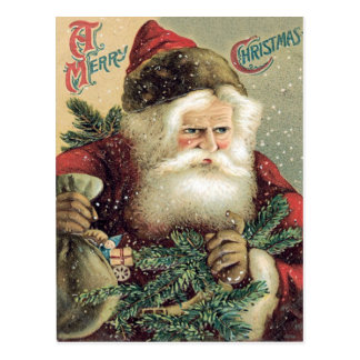 Santa Claus Sack of Toys Evergreen Bough Postcard
