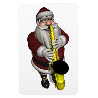 Santa Claus Saxophone Player Rectangular Photo Magnet