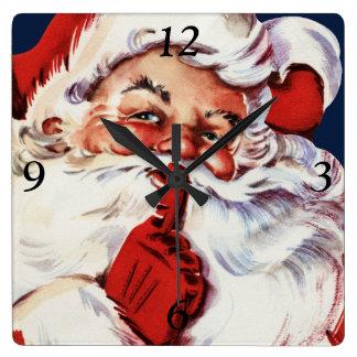 Santa Claus Saying SH-H-H Square Wall Clock