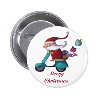 Santa Claus Scooterist Buttons