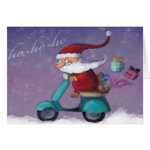Santa Claus Scooterist Greeting Cards