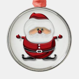 Santa Claus Silver-Colored Round Decoration