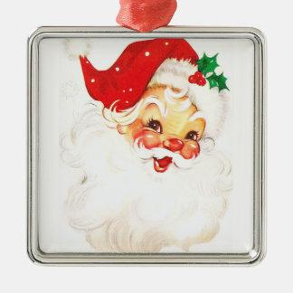 Santa Claus, Silver-Colored Square Decoration
