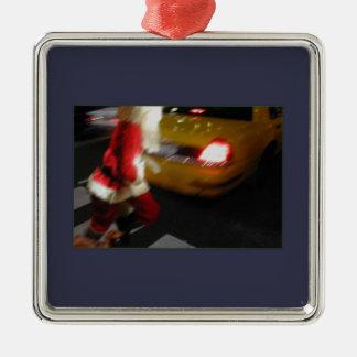 santa claus Silver-Colored square decoration