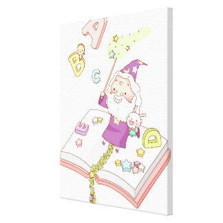 Santa Claus sitting on book Canvas Print