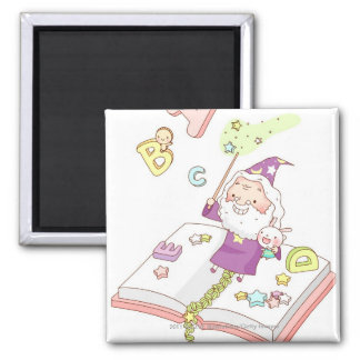 Santa Claus sitting on book Magnet