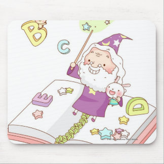 Santa Claus sitting on book Mouse Pad