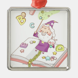 Santa Claus sitting on book Silver-Colored Square Decoration