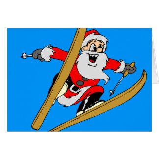 Santa Claus Skiers Skiing Xmas Tees and Gifts Greeting Card